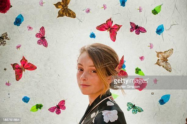 simple portrait, 'tween' girl with butterflies