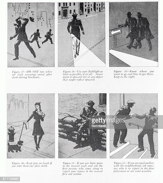 Simple rules for behavior in a blackout illustrated with line drawings are contained in a pamphlet prepared by the War Department and issued by the...