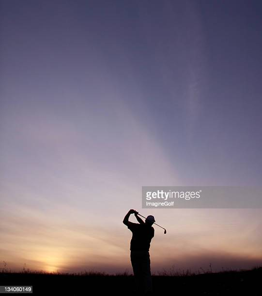 Simple Silhouette of Senior Golfer