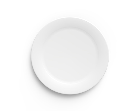 Simple white circular porcelain plate 467577858