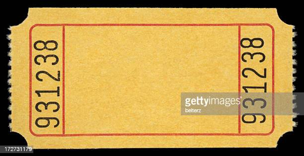 simple yellow ticket with the number 931238 in both sides  - lucky draw stock photos and pictures
