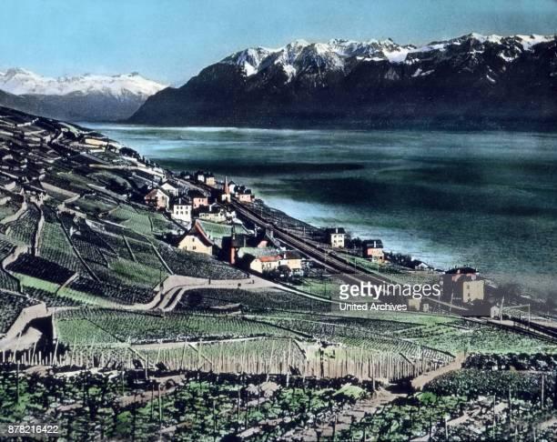 Simplon railway track at Lake Geneva Switzerland 1930s