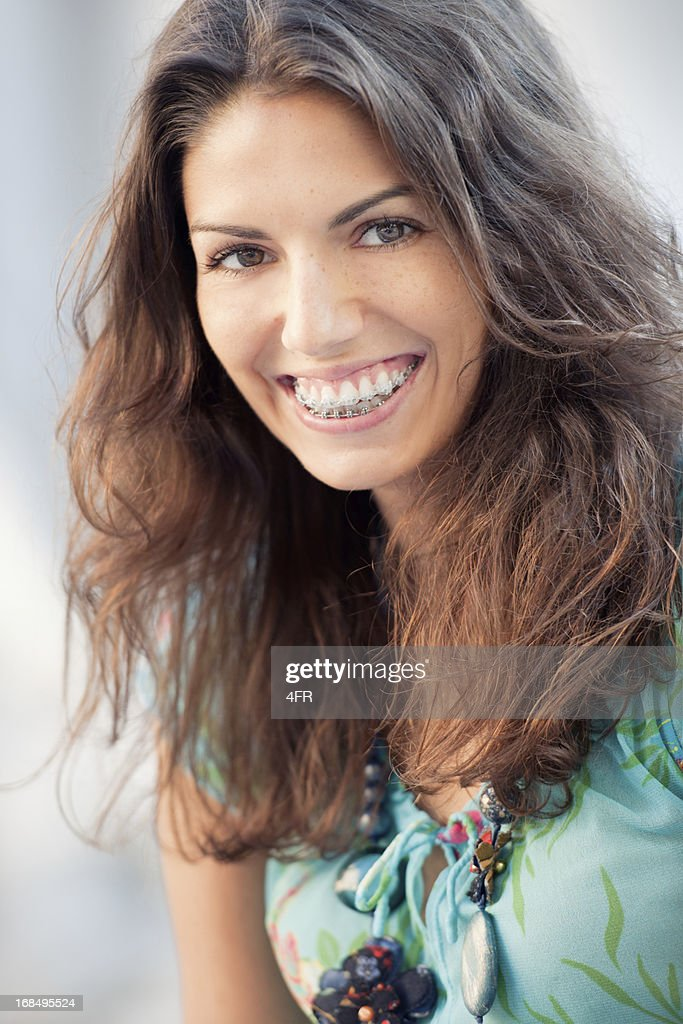 Simply Beautiful, Teenager with Freckles & Braces, Candid Portrait (XXXL) : Stock Photo