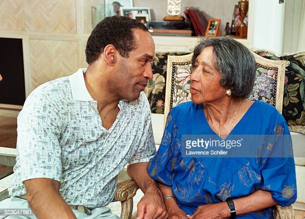 Simpson after his acquittal, at home in Brentwood with his mother Eunice Simpson.