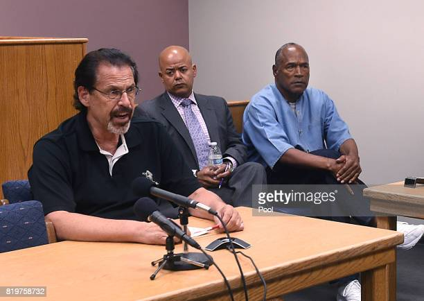 J Simpson and his attorney Malcolm LaVergne listen during the testimony of Bruce Fromong during his parole hearing at Lovelock Correctional Center...