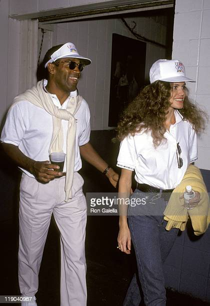 OJ Simpson and Paula Barbieri during 1987 US Open at Flushing Meadows Park in New York City New York United States