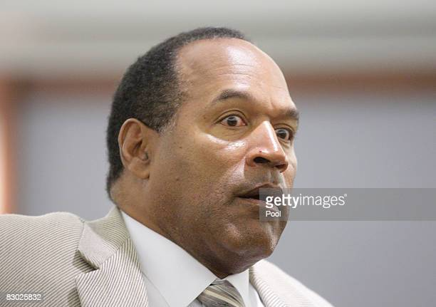 J Simpson appears in District Court during his trial at the Clark County Regional Justice Center September 26 2008 in Las Vegas Nevada Simpson and...