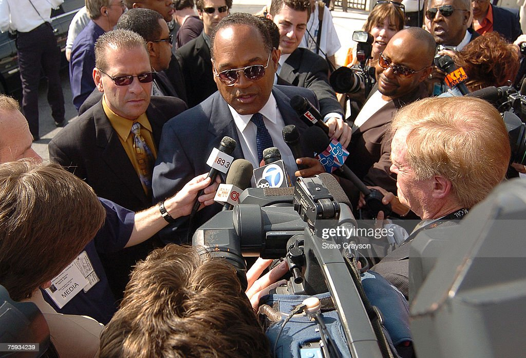 O.J. Simpson arrives at the memorial service for Johnnie Cochran at West Angeles Cathederal in Los Angeles, California April 6, 2005