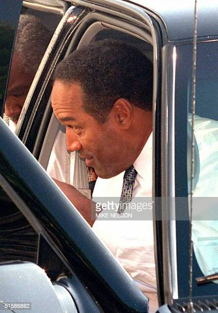 J Simpson arrives at the Santa Monica Courthouse for the first time 20 September since the beginning of the wrongful death civil lawsuit against him...