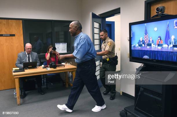 J Simpson arrives for his parole hearing at Lovelock Correctional Center July 20 2017 in Lovelock Nevada Simpson is serving a nine to 33 year prison...