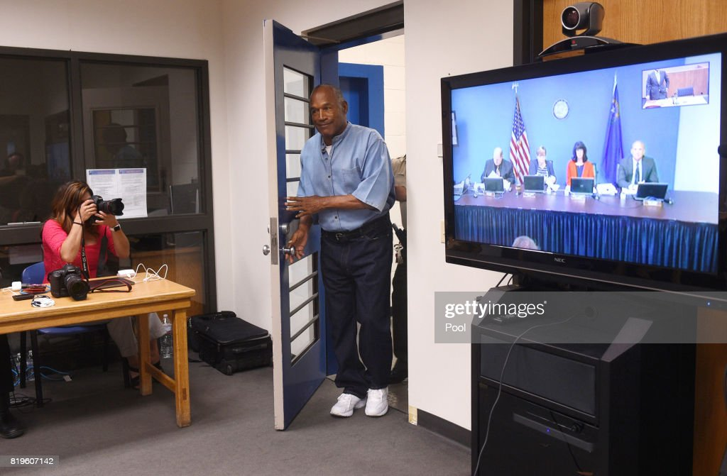 O.J. Simpson arrives for his parole hearing at Lovelock Correctional Center July 20, 2017 in Lovelock, Nevada. Simpson is serving a nine to 33 year prison term for a 2007 armed robbery and kidnapping conviction.