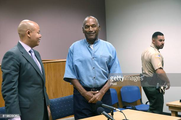 Simpson arrives for his parole hearing with his attorney Malcolm LaVergne at Lovelock Correctional Center July 20, 2017 in Lovelock, Nevada. Simpson...