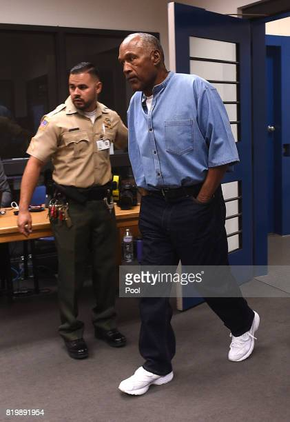 Simpson attends a parole hearing at Lovelock Correctional Center July 20, 2017 in Lovelock, Nevada. Simpson is serving a nine to 33 year prison term...