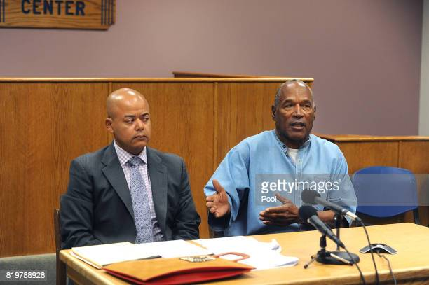 J Simpson attends his parole hearing with his attorney Malcolm LaVergne at Lovelock Correctional Center July 20 2017 in Lovelock Nevada Simpson is...