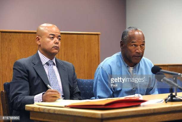 Simpson attends his parole hearing with his attorney Malcolm LaVergne at Lovelock Correctional Center July 20, 2017 in Lovelock, Nevada. Simpson is...