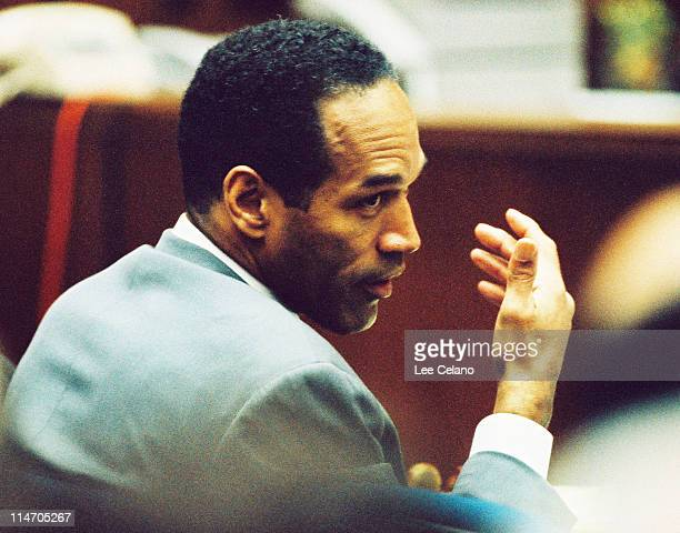 Simpson is shown during testimony in his criminal trial February 9, 1995.