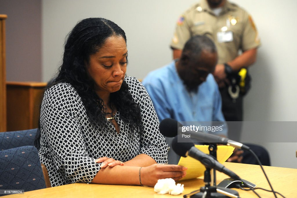 O.J. Simpson listens as his daughter Arnelle Simpson testifies during his parole hearing testifies during his parole hearing at Lovelock Correctional Center July 20, 2017 in Lovelock, Nevada. Simpson is serving a nine to 33 year prison term for a 2007 armed robbery and kidnapping conviction.