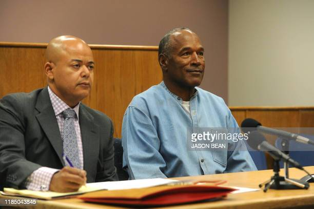 OJ Simpson looks on during a parole hearing at the Lovelock Correctional Center in Lovelock Nevada on July 20 2017 Former American football star OJ...