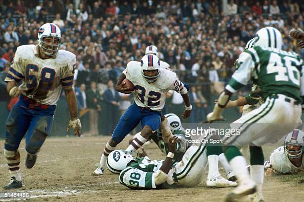 Simpson of the Buffalo Bills runs during a game against the New York Jets in New York, New York.