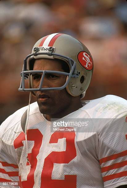 O J Simpson of the San Francisco 49ers looks on the field before the NFL game against the Los Angeles Rams at Los Angeles Memorial Coliseum on...