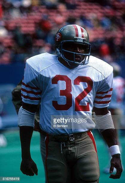 J Simpson of the San Francisco 49ers walks on the field during an NFL game against the New York Giants on October 14 1979 at Giants Stadium in East...