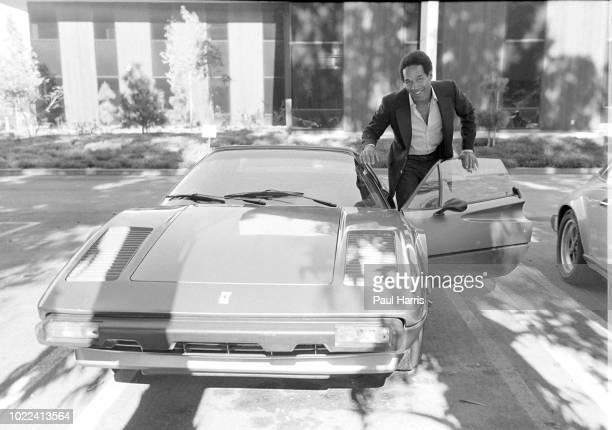 Simpson poses with his Ferrari June 12, 1979 at Warner Bros Studios , Burbank, California