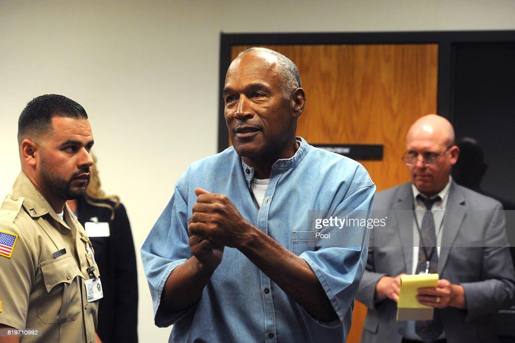 O.J. Simpson Granted Parole At Hearing : News Photo