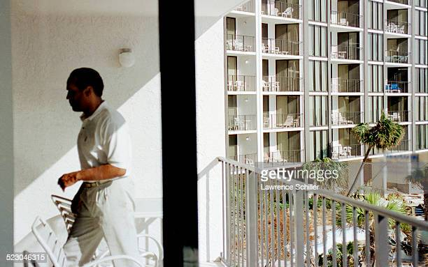 Simpson, several weeks after his acquittal, hiding out at a hotel in Florida.