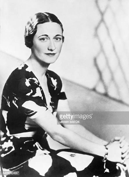 Simpson Wallis *19061896Herzogin von Windsor USAverheiratet mit Edward VIII von GB seit 1936 Halbportrait heiratete in 3 Ehe 1936 Koenig Edward VIII...