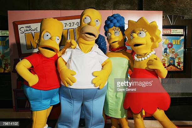 Simpsons Characters pose on the yellow carpet at The Simpsons Movie Australian premiere at Hoyts Entertainment Quarter Moore Park on July 24 2007 in...