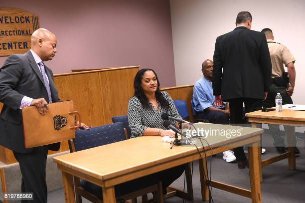 J Simpson's daughter Arnelle Simpson prepares to testify during his parole hearing at Lovelock Correctional Center July 20 2017 in Lovelock Nevada...