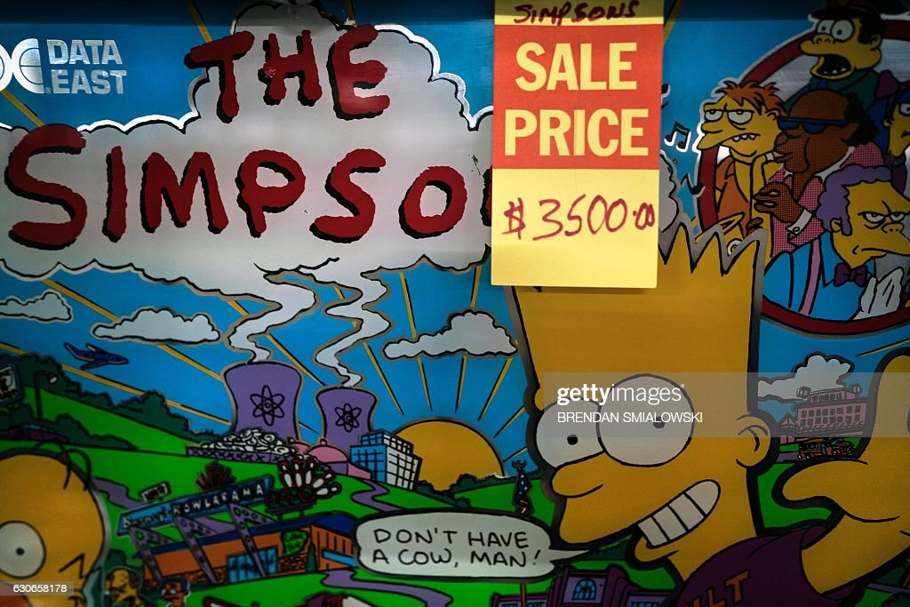 A Simpsons pinball machine is seen for sale at Video