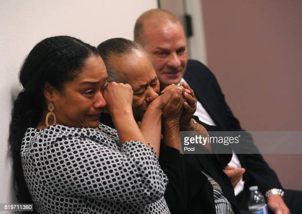 J Simpson's sister Shirley Baker middle daughter Arnelle Simpson left and friend Tom Scotto react during Simpson's parole hearing at Lovelock...