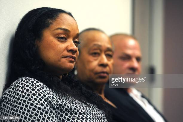 J Simpson's sister Shirley Baker middle daughter Arnelle Simpson left and friend Tom Scotto attend Simpson's parole hearing at Lovelock Correctional...