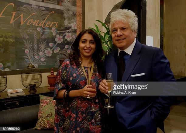 Simran Lal of Good Earth with Suhel Seth at the launch of Rohit Bal's first home collectibles and apparel line called HusnETaairaat at Good Earth on...