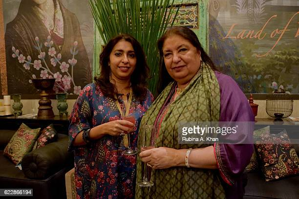 Simran Lal with her mother Anita Lal of Good Earth at the launch of Rohit Bal's first home collectibles and apparel line called HusnETaairaat at Good...