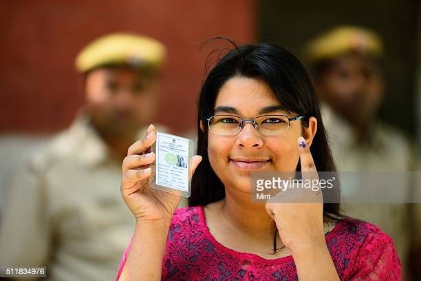 Simran Saxena showing the mark after casting her vote first time for general election of the 16th Lok Sabha 2014 on April 10 2014 in New Delhi India
