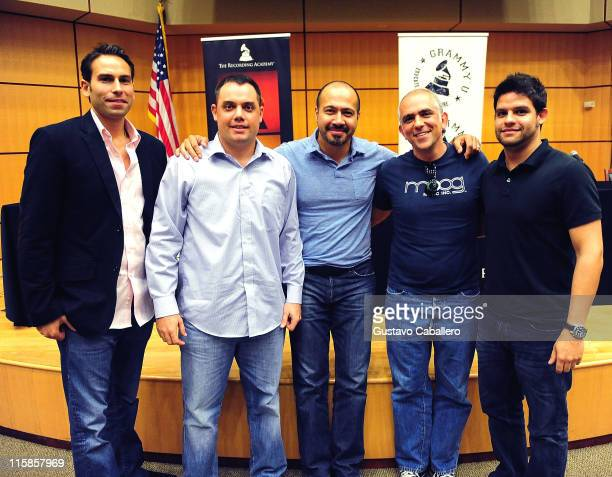 Simran Singh Brian Spario Kenny Cordova Jose Tillan and Eddy Perdomo attend the GRAMMY Career Workshop at the Storer Auditorium at the University of...