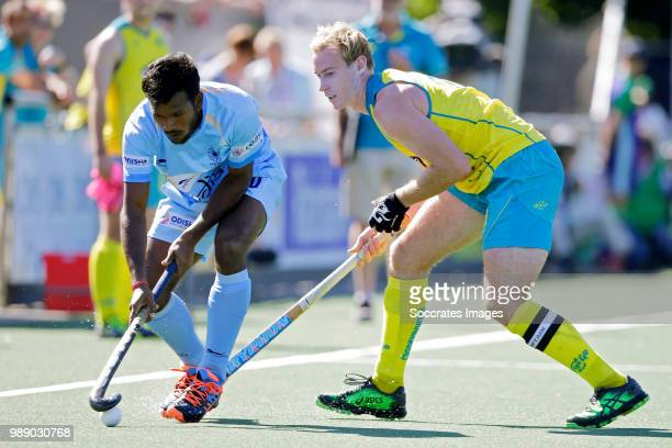 Simranjeet Singh of India Daniel Beale of Australia during the Champions Trophy match between Australia v India at the Hockeyclub Breda on July 1...