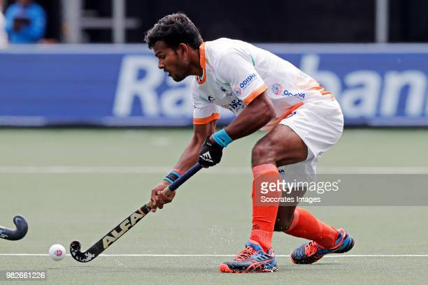 Mandeep Singh of India Maico Casella of Argentina during the Champions Trophy match between India v Argentinia at the Hockeyclub Breda on June 24...