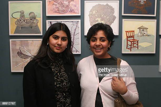 Simrin Mehra Aggarwal and Vibha Galhotra at the Exhibition Does Size Matter At Art Konsult Hauz Khas Village New Delhi
