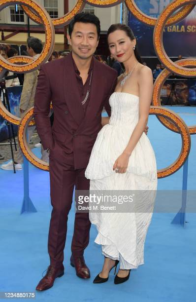 """Simu Liu and Fala Chen attend the UK Gala Screening of Marvel Studios' """"Shang -Chi And The Legend Of The Ten Rings"""" at The Curzon Mayfair on August..."""
