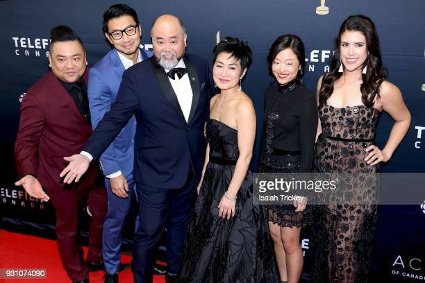Simu Liu Andrew Phung Paul SunHyung Lee Jean Yoon Andrea Bang and Nicole Power arrive at the 2018 Canadian Screen Awards at the Sony Centre for the...