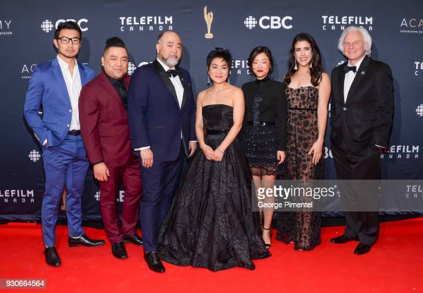 Simu Liu Andrew Phung Paul SunHyung Lee Jean Yoon Andrea Bang Nicole Power and Ivan Fecan arrive at the 2018 Canadian Screen Awards at the Sony...