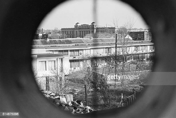 Simulated view through a gunsight of the balcony at the Lorraine Motel where Dr Martin Luther King was shot and killed