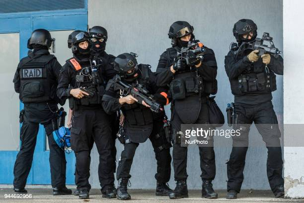 Simulation of terrorist attack in a theater in Macon France November 3 2016 Units of the Raid police and gendarmerie have trained together with the...