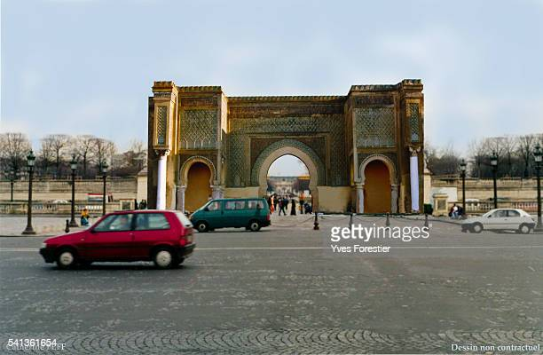 Simulation of the reconstruction of the Meknes gate at the Place de la Concorde