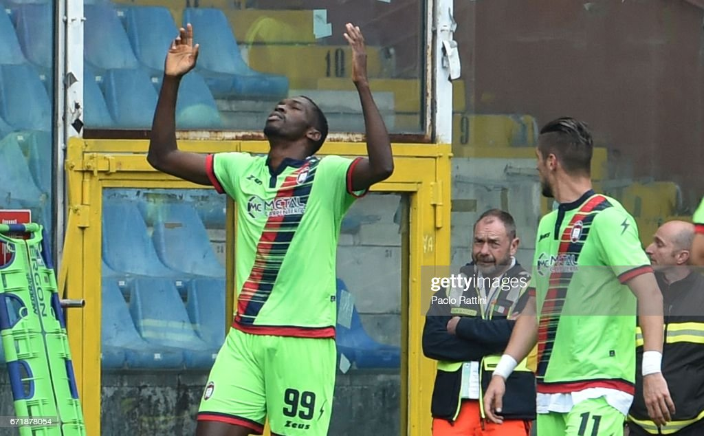 Simy Nwankwo (Crotone) celebrates after scoring 1-2 during the Serie A match between UC Sampdoria and FC Crotone at Stadio Luigi Ferraris on April 23, 2017 in Genoa, Italy.