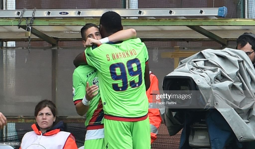 Simy Nwankwo (Crotone) celebrates with teammates after scoring 1-2 during the Serie A match between UC Sampdoria and FC Crotone at Stadio Luigi Ferraris on April 23, 2017 in Genoa, Italy.