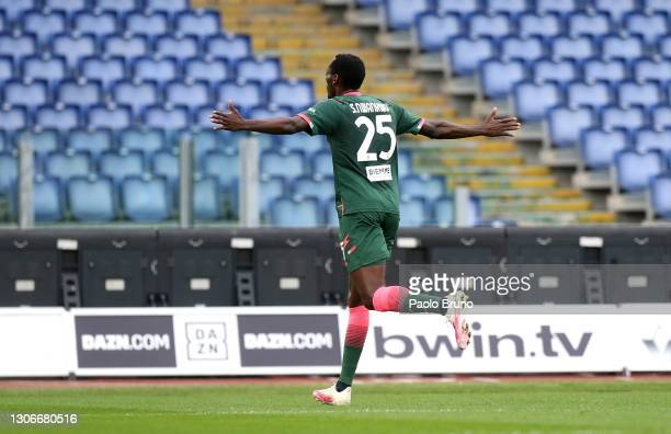 Simy Nwankwo of Crotone celebrates after scoring their side's first goal during the Serie A match between SS Lazio and FC Crotone at Stadio Olimpico...